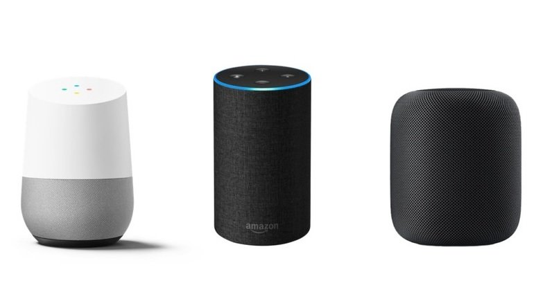 Digital assistants (Google Home, Amazon Echo and Apple HomePod)